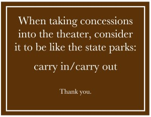 When taking concessions into the theater
